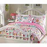 Girls reversible flower and polka dot quilt set (Twin) by quilt set