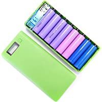 BEESCLOVER 5V 2A DIY Dual USB Power Bank Shell Box Portable 8x18650 External Battery Power Bank Case with LCD Display (No Battery) Green