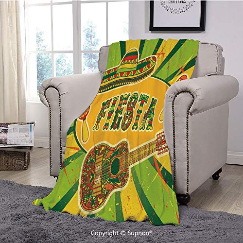Premium Throw Blanket/Super Soft,Cozy,Lightweight Microfiber,Fiesta,Colorful Latino Elements Sombrero Maracas Guitar Geometric Background Decorative,Green Mustard Vermilion(71