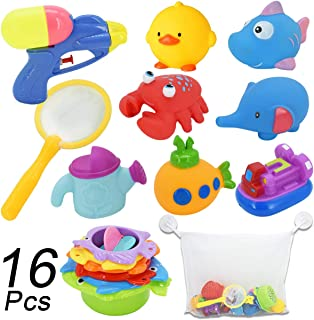 Bath Toys with Stacking Cups, Squirt Squeaker Bath Toys,Squeezing Toys, Water Blaster Toys, Fishing Net, Bath Toy Organizer-16 Piece Non Toxic Baby Bath Toys for Toddlers Birthday Gift for Kids