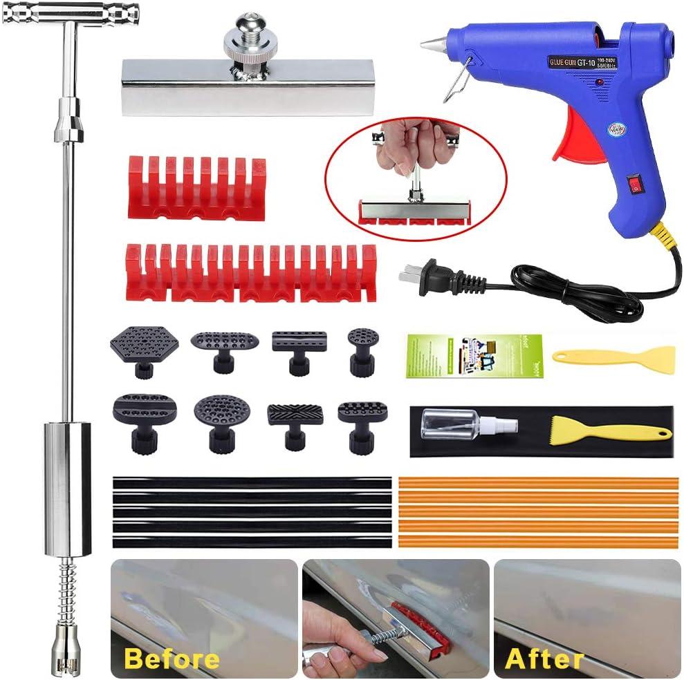 Randalfy Car Dent Puller Kit Dent Puller Gleithammer T-Bar Dent Removal Tool mit T-Bar Head Dent Puller und verdickten Zuglaschen f/ür Car Dent Remover Lackfreies Dent Repair Kit