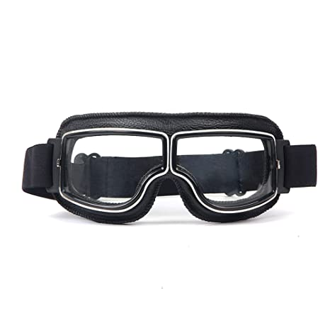 LEAGUE&CO Gafas de Moto Retro Vintage Gafas de Protección Gafas Piloto Gafas de Aviador, Gafas