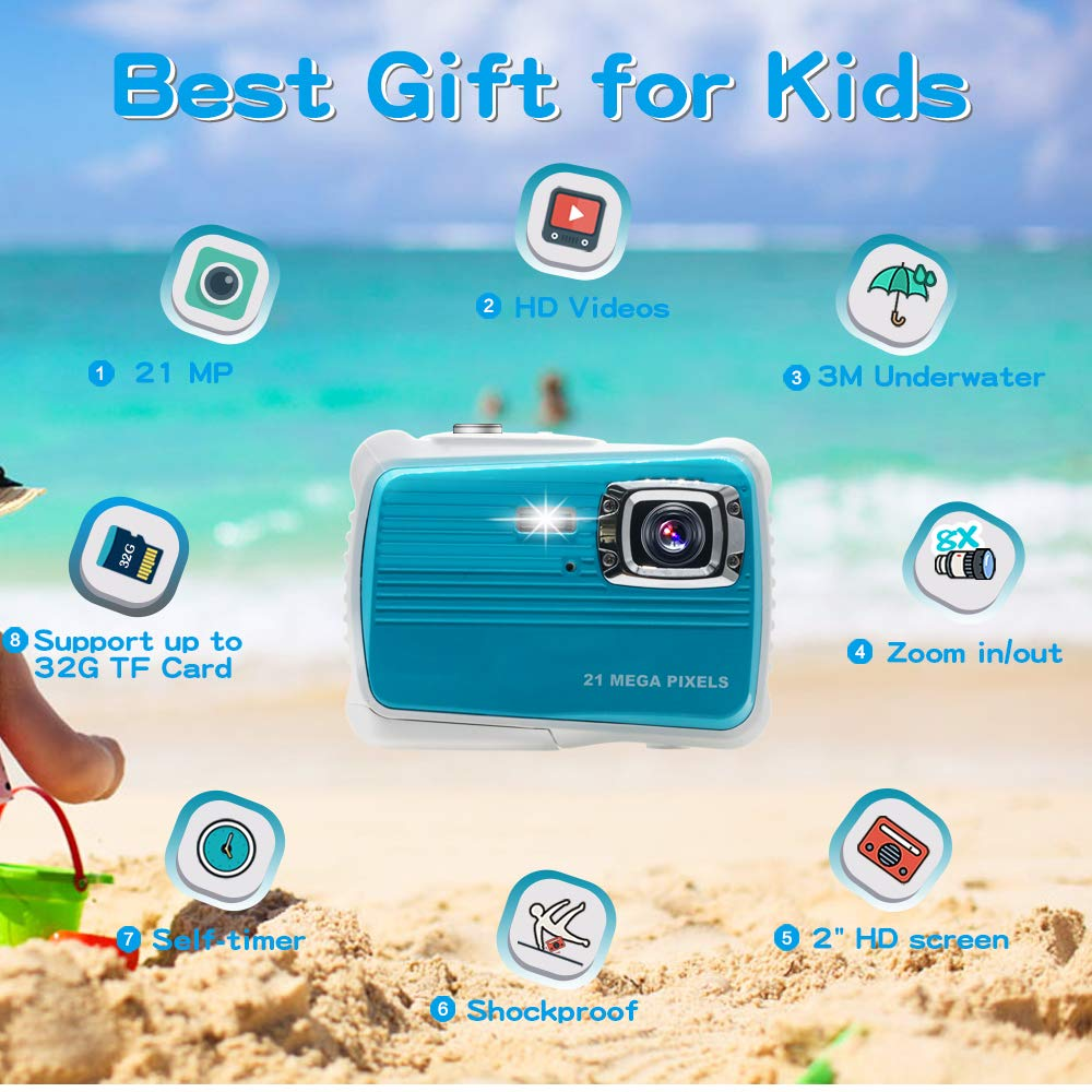 [Updated 2019 Model] ISHARE Kids Camera, Waterproof Kids Camera Best Gifts for Girls/Boys 21MP HD Underwater Digital Camera with 2.0'' LCD, 8 X Digital Zoom, Flash and Mic (Blue)... by ISHARE (Image #2)