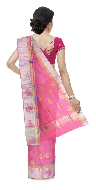 Pink Color Chanderi Cotton & Silk Saree With Blouse Piece