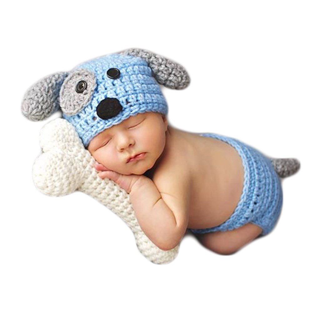 Baby Photography Props Boy Girl Photo Shoot Outfits Newborn Crochet Costume Infant Knitted Clothes Puppy Hat Shorts Bone Blue