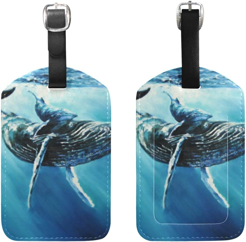 2 Pack Luggage Tags Whales Handbag Tag For Suitcase Bag Accessories