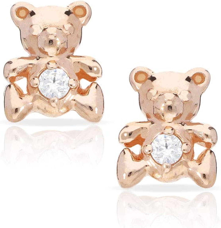 Gift box Sterling silver pink enamel teddybear kids stud earrings
