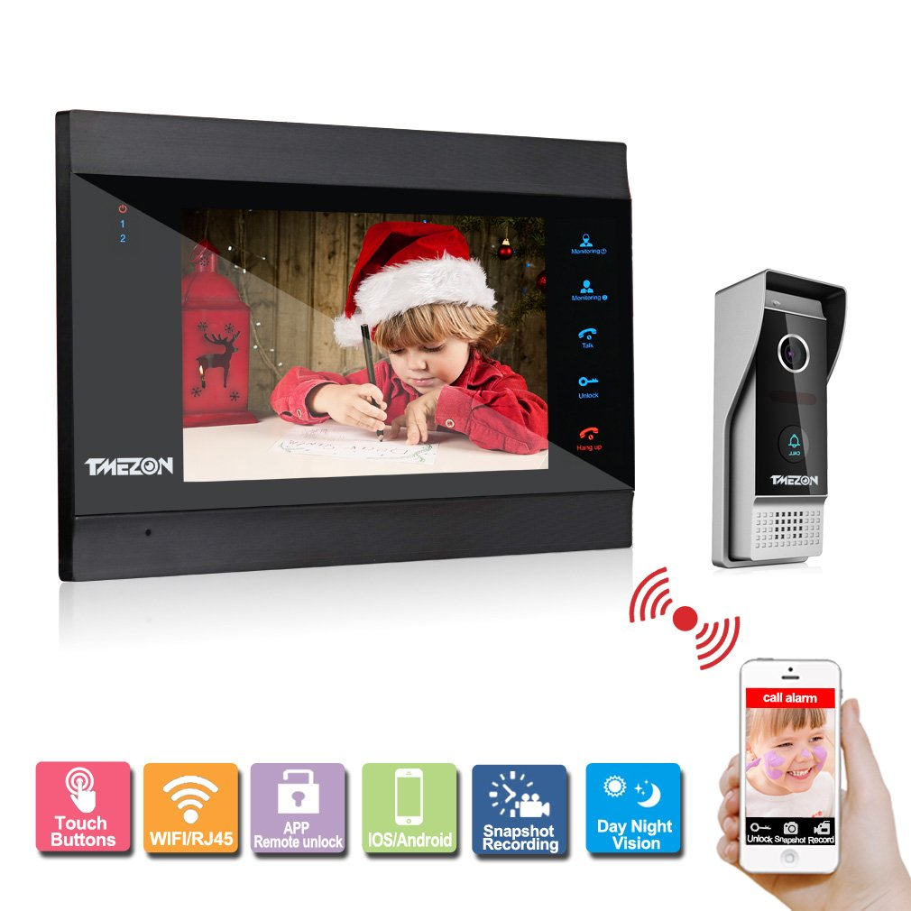 TMEZON WIFI/Wired 7'' TFT Color LCD Display Video Door Phone Visual Intercom Doorbell 1-camera 1-monitor Hands Free IR Night Vision by TMEZON