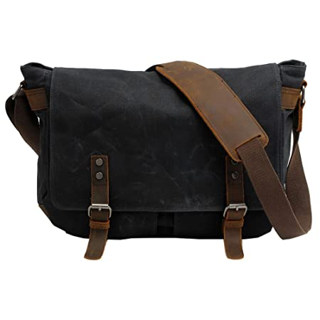 VRIKOO Waterproof Canvas Leather Laptop Bag Briefcases Vintage Men's Messenger Shoulder Bags Satchels