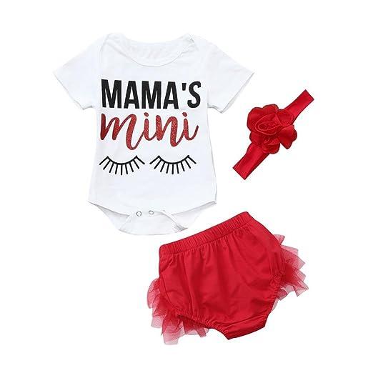 100792735e1c Dinlong Baby Girls Clothes Set Romper Floral Print Jumpsuit + Lace Shorts Summer  Outfits (0