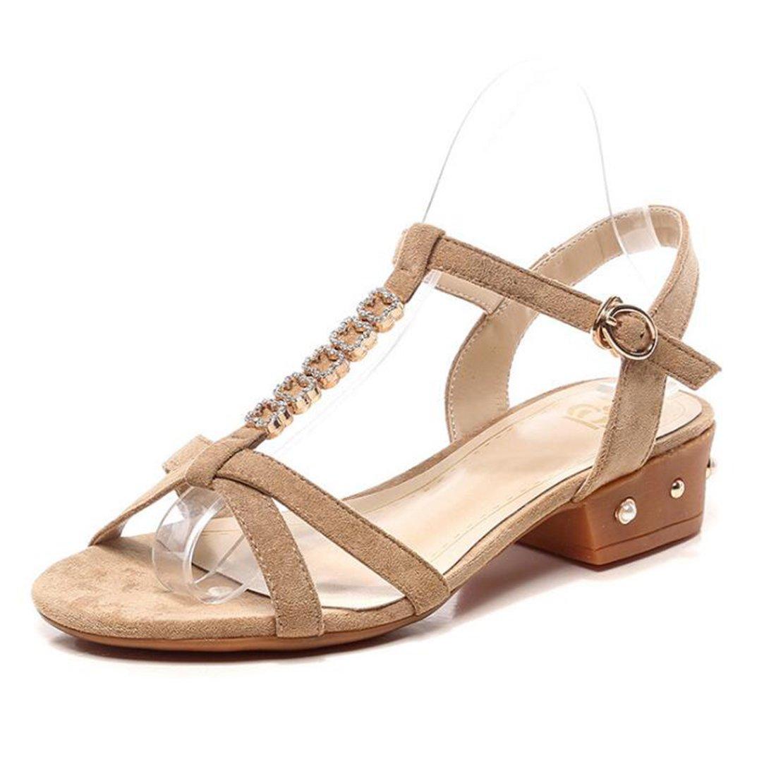 ZHONGST Frauen Sommer Strass Sandalen Casual Mode Wort Schnalle Sandalen  40 Apricot