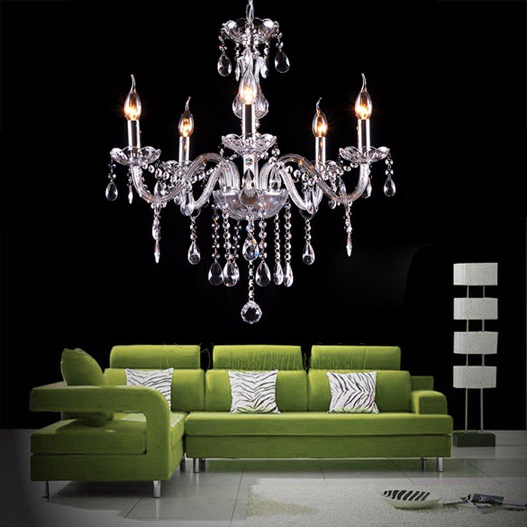 Amazon.com: Gracelove Modern Crystal Lamp Fixture Pendant 5 Lights Ceiling  Chain Candle Chandel Chandelier: Home U0026 Kitchen