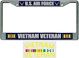 US Air Force Vietnam Veteran License Plate Frame Bundle with Vietnam Veteran Decal