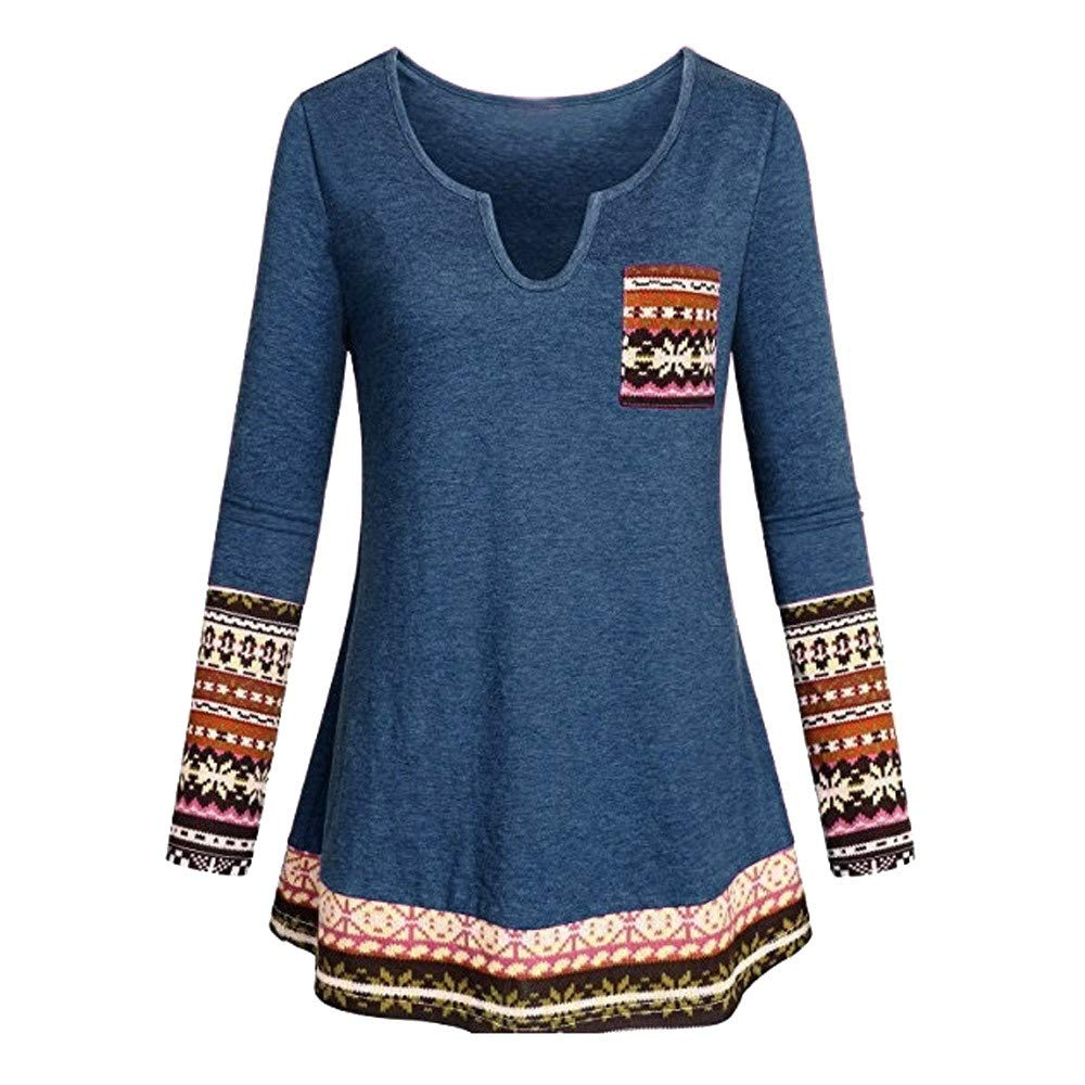 Women Blouse, Ankola Women Shirt Boho Patchwork Long Sleeve Blouse Casual V Neck Tops (L, Blue)