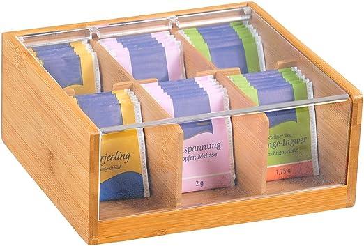 Kesper – Caja para bolsitas de té (Madera de bambú, Color marrón, 22 x 21 x 9,5 cm: Amazon.es: Hogar