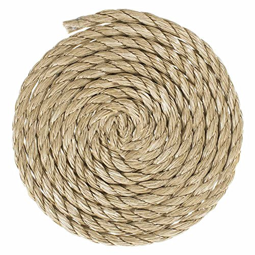 GOLBERG G ProManila Rope (3/8 Inch) UnManila Tan Twisted 3 Strand Polypro Cord - High Resistance to UV, Moisture, and Chemicals - Marine/Nautical, DIY Projects, Tie Downs, Indoor/Outdoor (50 (Nautical Knots Tie)