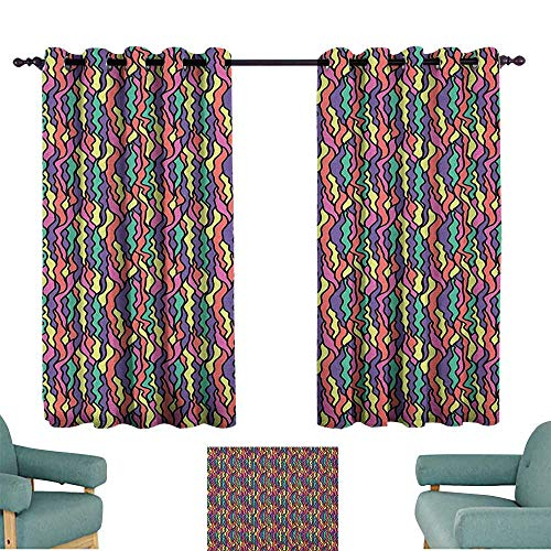 WinfreyDecor Colorful Curtain for Kids Stained Glass Pattern with Colorful Curved Lines Vintage Doodle Style Illustration for Living, Dining, Bedroom (Pair) 55