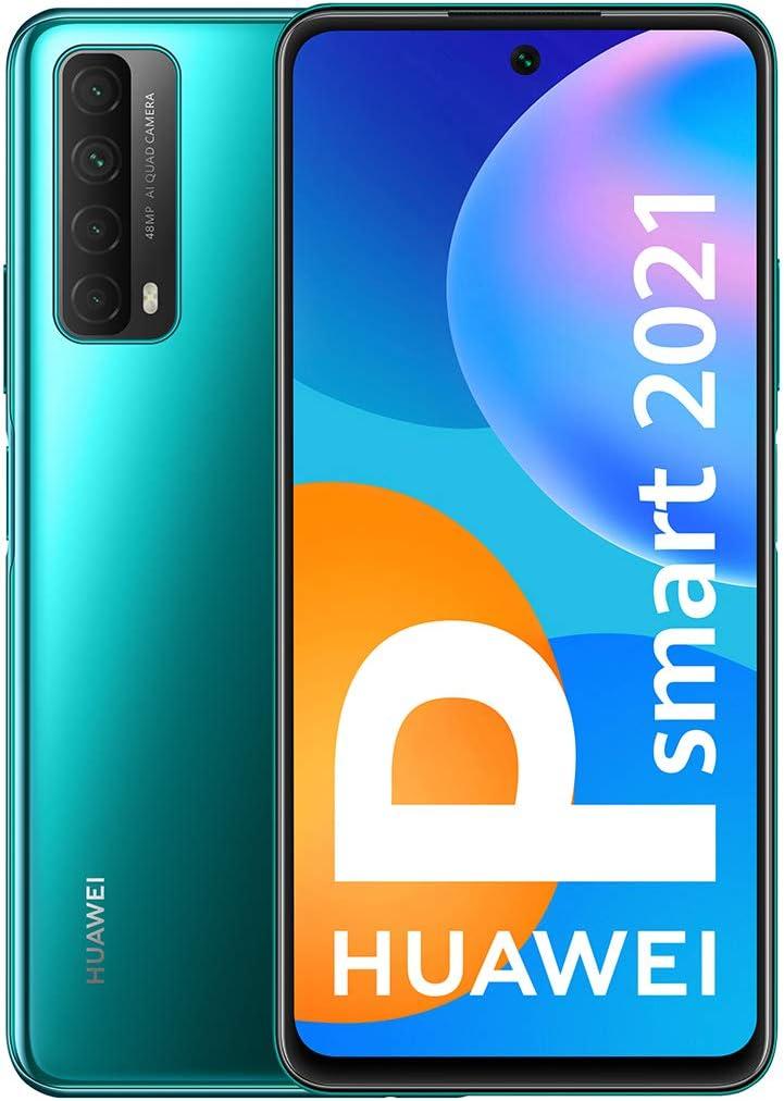 HUAWEI P Smart 2021 - Smartphone con Pantalla de 6,67 Pulgadas Full HD, 4GB de RAM y 128 GB de ROM, 22.5W HUAWEI Supercharge, 5000 mAh de batería, Cuádruple cámara con IA de 48 MP, Verde