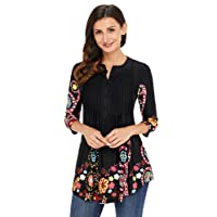 XFentech Fashion Casual 3/4 Sleeve Floral Printed Loose Tunic Long Womens Blouse
