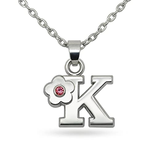 Amazon Com Katie S Style Pink Crystal Alphabet K Flower Necklace