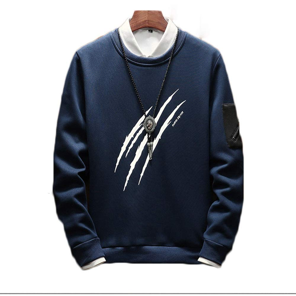 Color : Blue, Size : L MUMUWU Men Casual Loose Autumn and Winter New Personality Print Slim Pullover