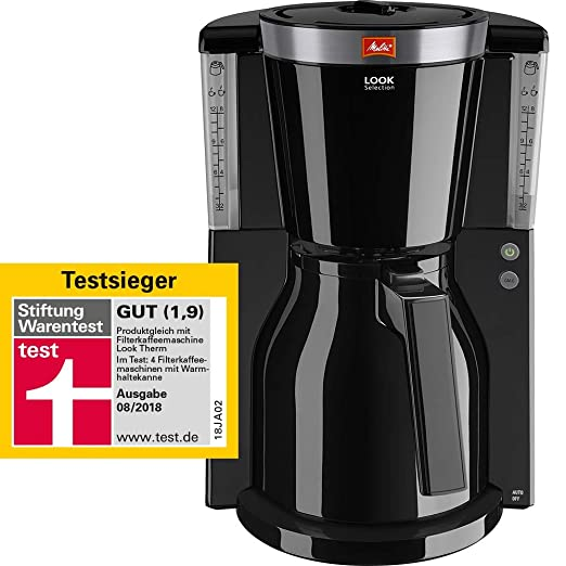 Melitta Look IV Therm Selection 1011-11/-12 Cafetera de Filtro, 1000 W, 1 Liter, Negro/Acero Inoxidable