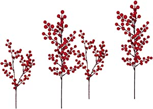 """TOUTN Artificial Berry Stems, 21.3"""" Length Christmas Red Berries Fruit Holly Xmas Berry Branch Home Crafts Decor/Holiday/Wedding/Party/DIY Christmas Tree (4Pack)"""