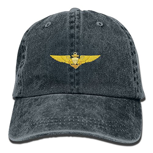 Mens Cotton Washed Twill Baseball Cap US Navy Pilot Wings Hat