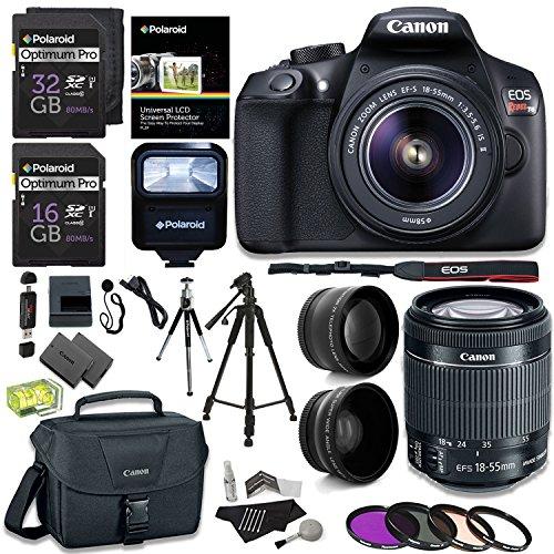 "Canon EOS Rebel T6 Digital SLR Camera Kit + EF-S 18-55mm f/3.5-5.6 IS II Lens + Pro .58x & 2.2x Lenses + Lexar 48GB Memory + 57"" Tripod + Canon 100ES Case + Polaroid Accessory Bundle"