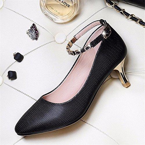 HXVU56546 Otoño Con La Nueva Delgada Con Tacones Altos Zapatos Puntiagudos Zapatos De Dama Moda black