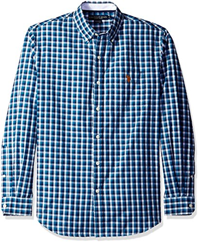 U.S. Polo Assn. Mens Long Sleeve Poplin Small Check Sport Shirt
