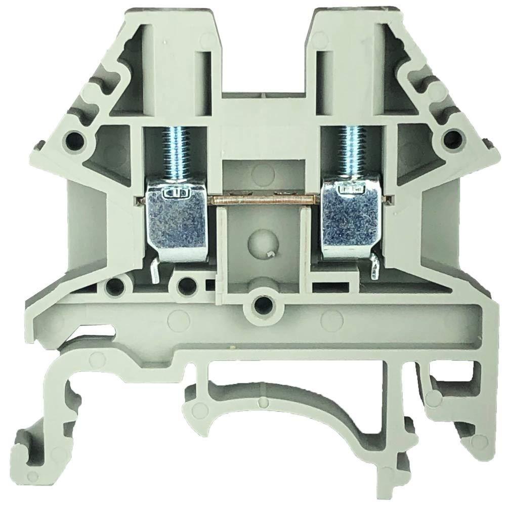 Pack of 100 Grey Dinkle Gray DK2.5N-S13109 DIN Rail Terminal Block Screw Type UL 600V 20A 12-22AWG