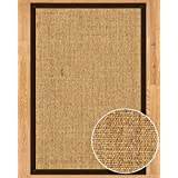 Handcrafted Melrose Sisal Rug, Fudge Cotton Border, Non-Slip Backing, 3' x 5'