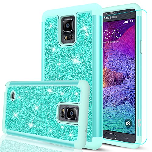Note 4 Case, Galaxy Note 4 Glitter Case with HD Screen Protector,LeYi Bling Cute Girls Women [PC Silicone Leather] Dual Layer Heavy Duty Protective Case for Samsung Galaxy Note 4 TP Mint