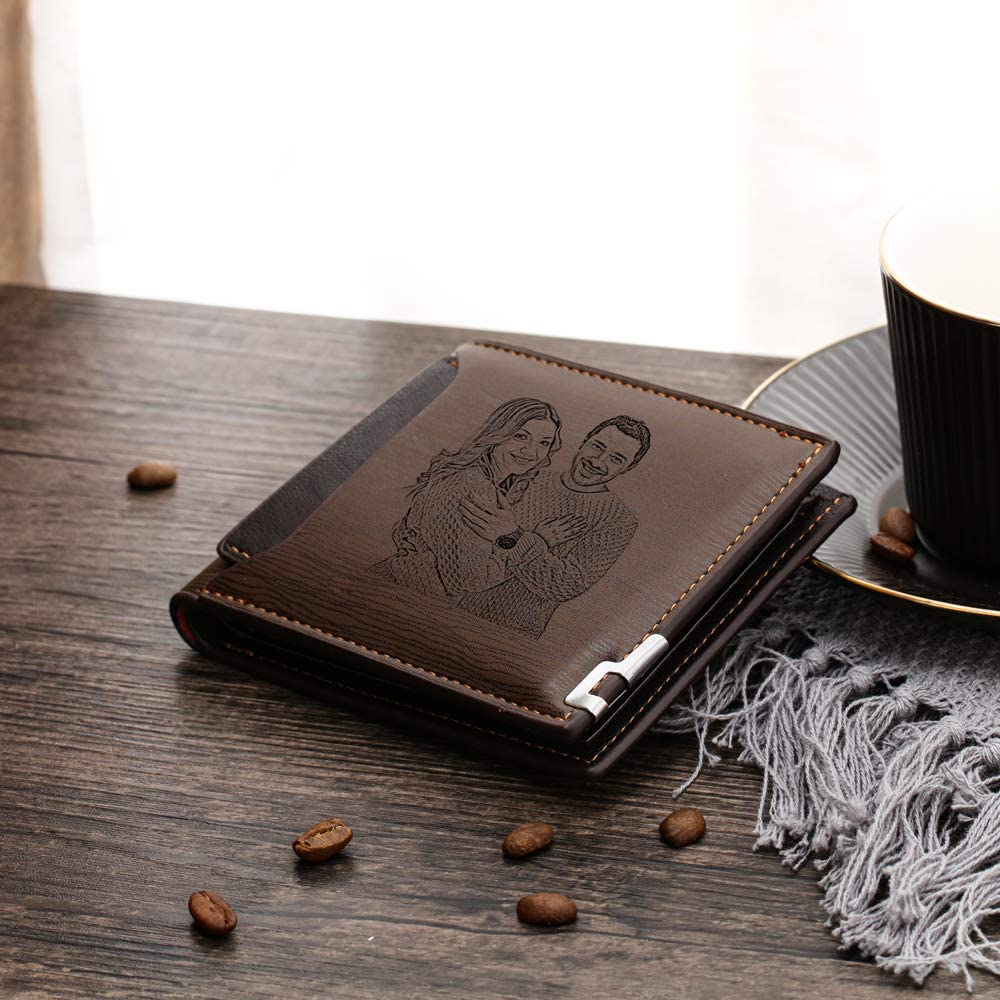 Wallets For Men Women RFID Blocking Personalized Photo PU Leather Large Capacity Wallet for Father
