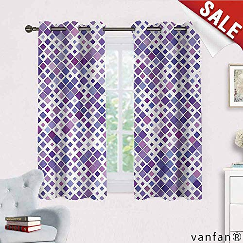 Big datastore Lavender, Curtains for Girls Bedroom,Retro Mosaic Creative Pattern Square Rhythm Abstract Art Print Design, Curtains Thermal Insulated, W63 x L72 Violet Purple White