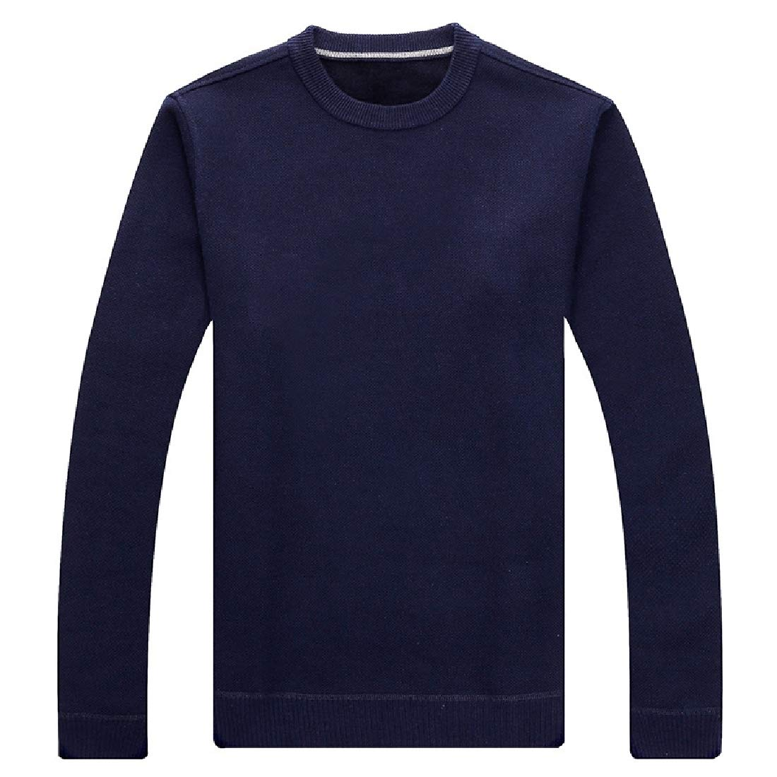 Yayu Mens Fashion Crewneck Casual Knitted Sweater Solid Pullover Sweaters
