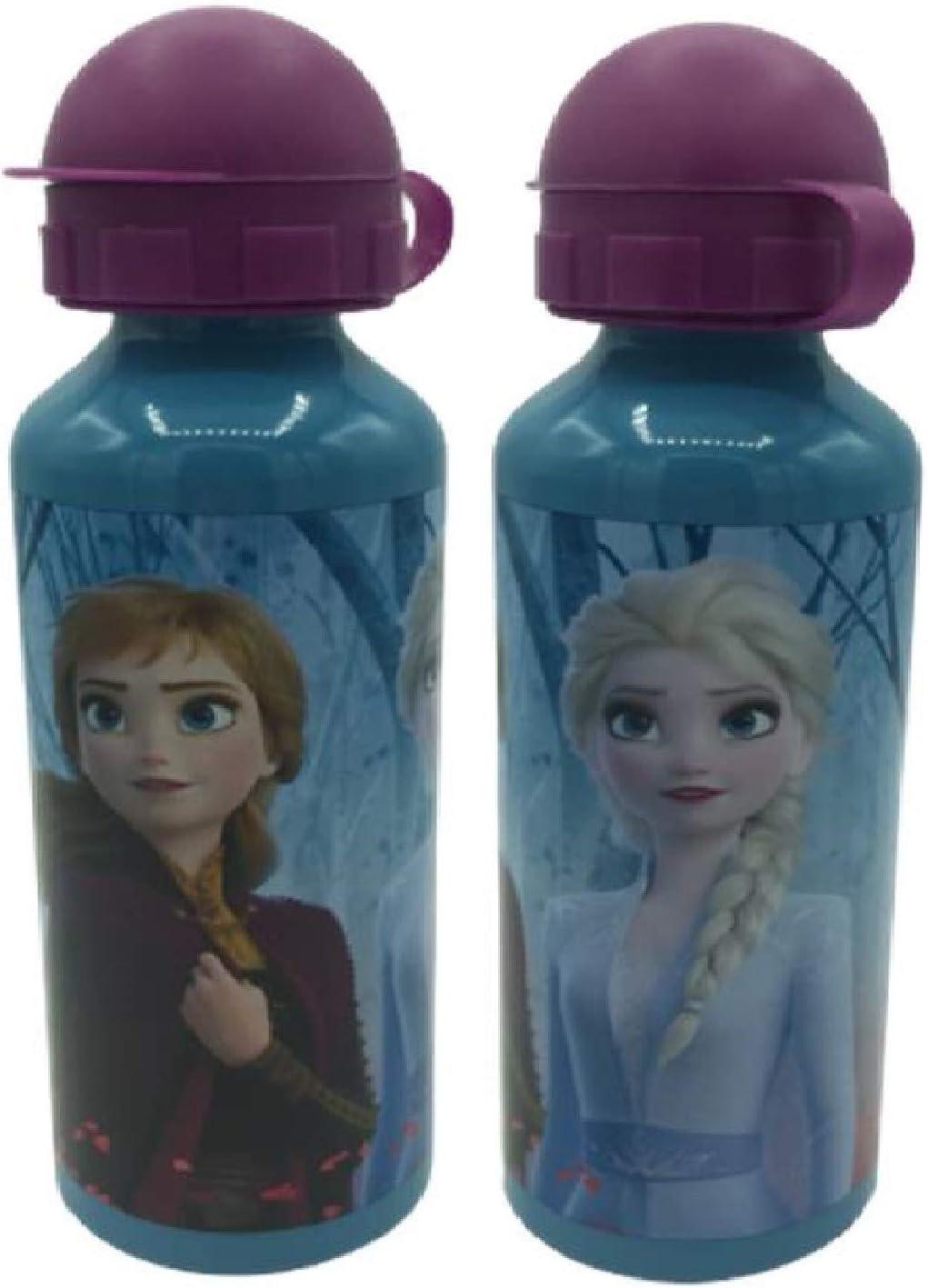 Una Botella de Agua de Aluminio, cantimplora térmica a Prueba de Fugas sin BPA para Levar a la Escuela y Deportes el Termo 500ml para niños y niñas (Celeste-f)