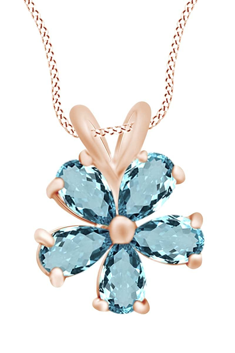AFFY 14K Gold Over Sterling Silver Pear Shape Simulated Blue Aquamarine Flower Pendant Necklace