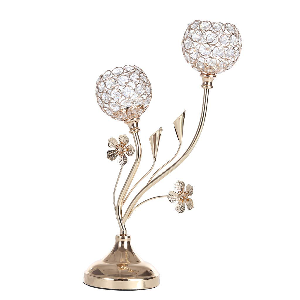 Beautly Home Crystal Candlestick Candle Holders,Elegant 2-Candle Candelabras,Coffee Table Decorative Centerpieces for Living Room,Dinning Room Table Decoration, (Gold, 17.3×4.9×11.8 Inch) by Beautly