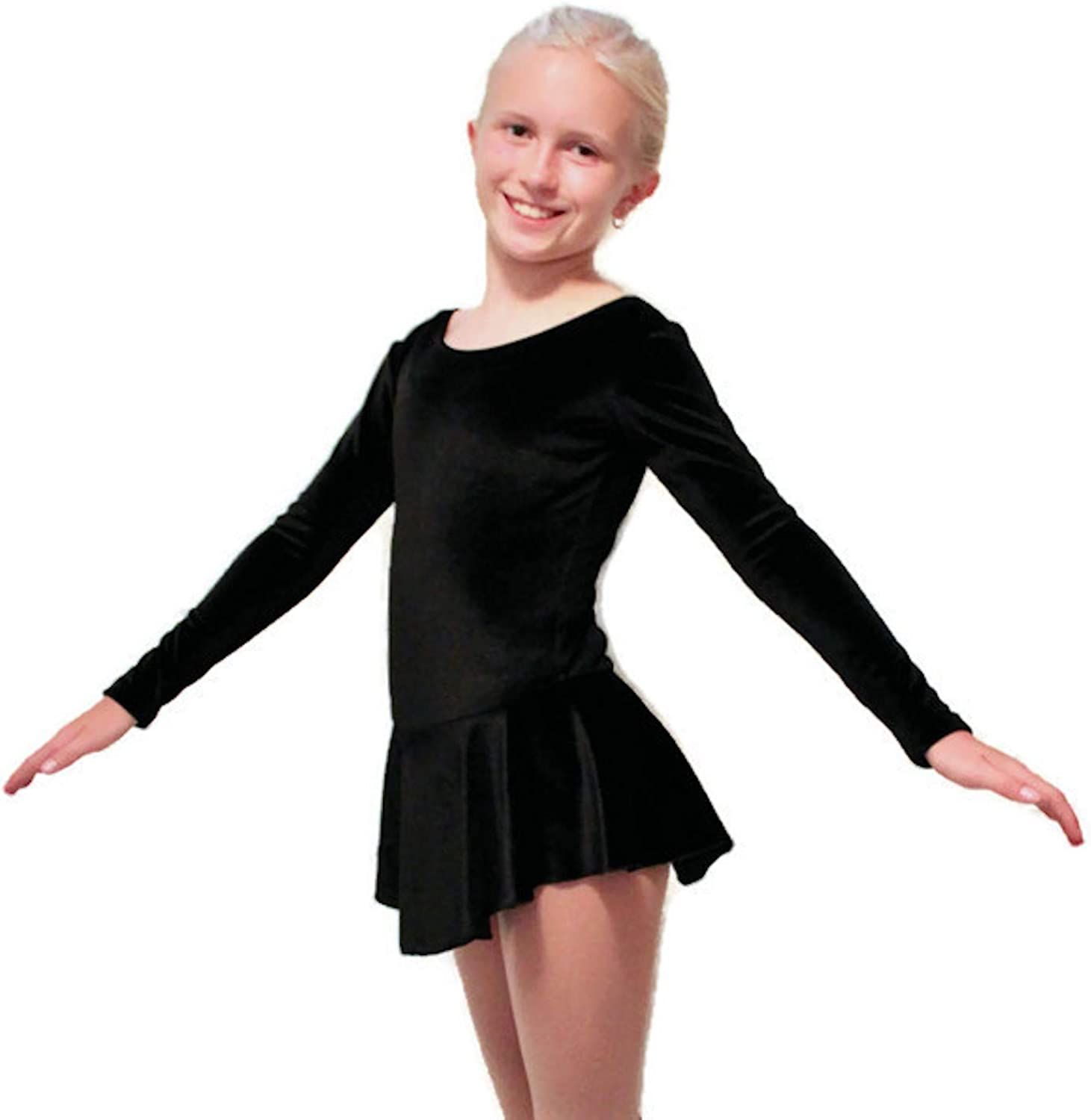 Child Small Roller Skating Practice Black or Testing//Examination Dance Competition Figure Skating Dress for Ice Skating
