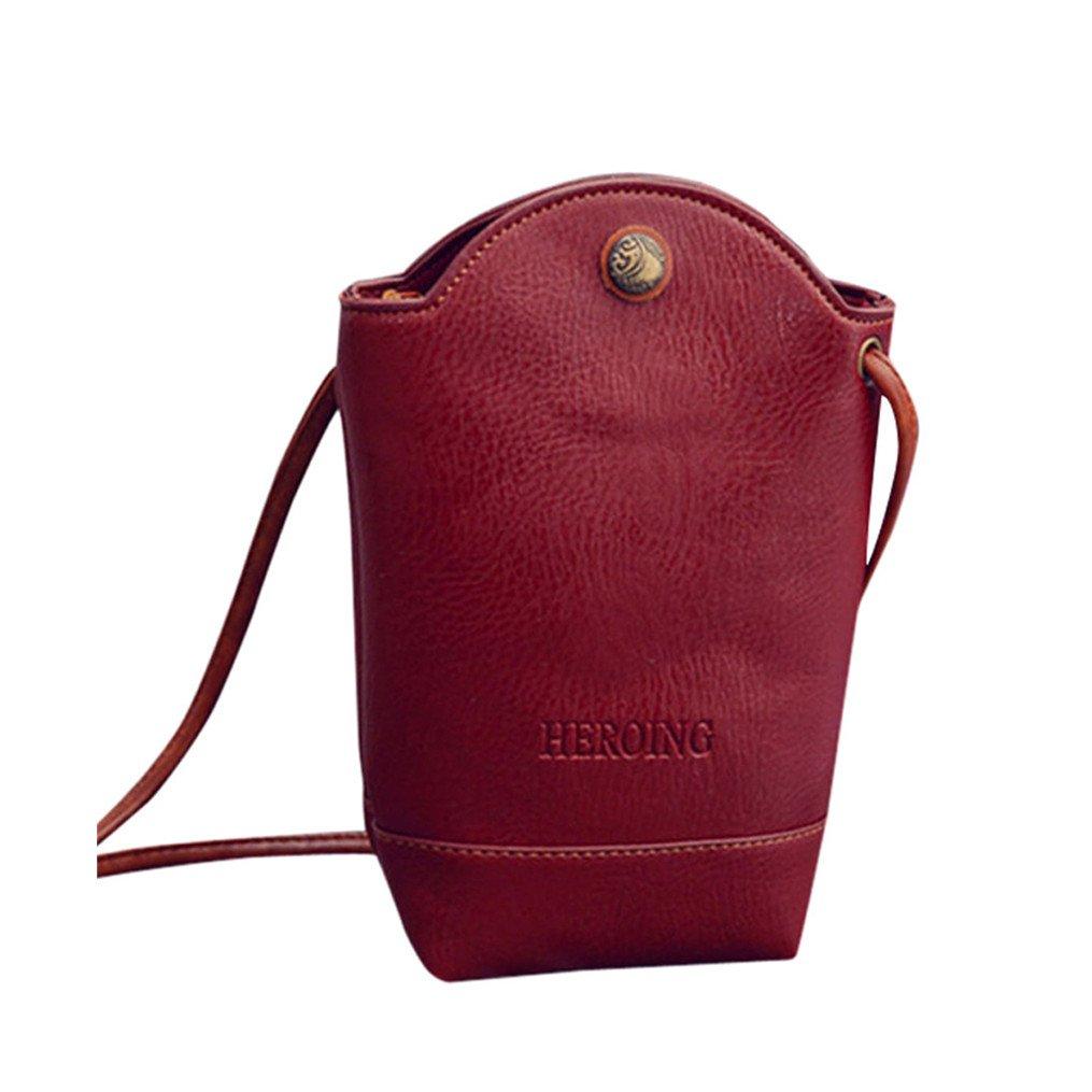 HP95(TM) Women Girls Mini Messenger Bags Crossbody Shoulder Purse Cute Small Bucket Handbag Pouch (Red)