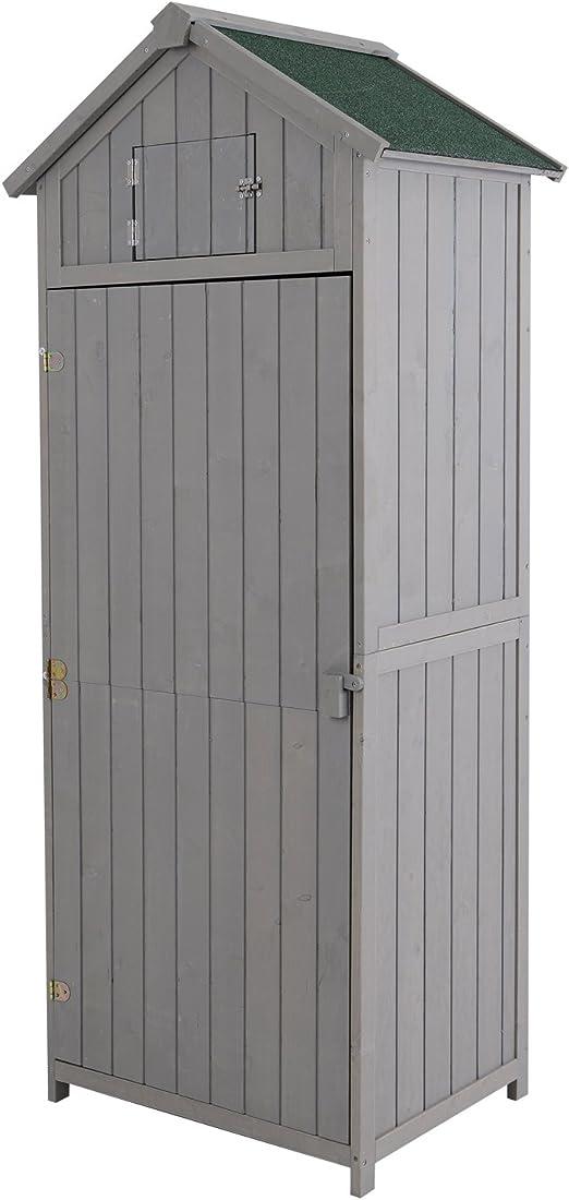 Outsunny Armadietto da Giardino Esterno Porta Attrezzi Utensili in Legno con 3 Mensole Tetto Impermeabile 77 × 54.2 × 179cm Grigio