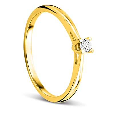 3bbadf2781e31 Orovi Women Solitaire Engagement Ring 9 ct   375 Yellow Gold With Brilliant  Cut Diamond 0.07 ct  Amazon.co.uk  Jewellery