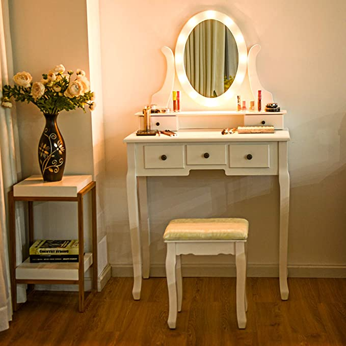 Giantex Vanity Table Set With 12 Lights Mirror Bedroom Makeup Dressing Table With 360 Rotating Oval Mirror 5 Drawers And Shelf Modern Makeup Table With Cushioned Stool For Girls Women White