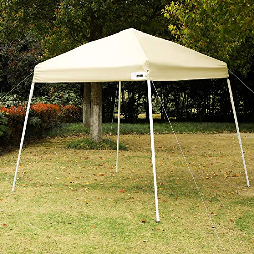 VIVOHOME Slant Leg Outdoor Easy Pop Up Canopy Party Tent Beige 8 x 8 ft