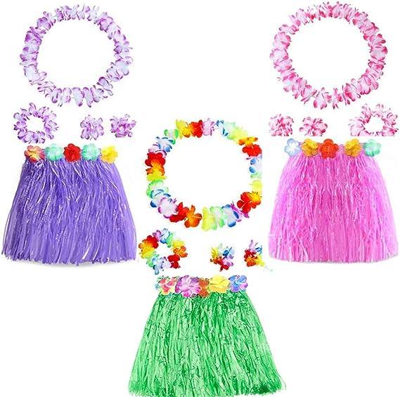 Yojoloin 15 Piezas Hawaianas Leis Luau Flores con 6 Pulseras 3 ...