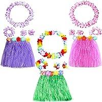 Yojoloin 15 Pezzi Hawaiian Leis Luau Fiori con 6 bracciali 3 Fasce e 3 collane 3 gonne per Luau Hawaiian Decorazioni per Feste Forniture Photo Booth Props. (15PCS)