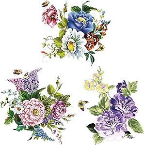 3Pcs/Set Flowers Wall Sticker Toilet Refrigerator Sticker Arts Decals for Bedroom Bathroom Living Room Decors