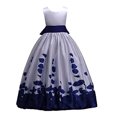 Sunbibe 6-12 Years Old Toddler Clothes Kids Girls Dress Princess Lovely Lace Flower Wedding